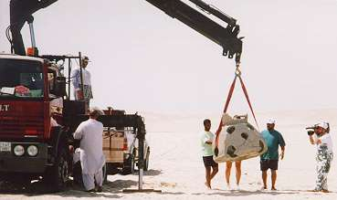 new-9.jpg - The Reef Balls are off loaded in the sandy desert bordering the Arabian Gulf.