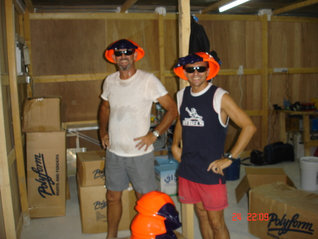 wernermischlerpics 243.jpg - Robbie & Werner goof around in the construction shed.